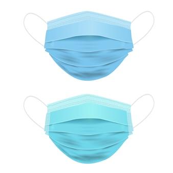 Máscara médica, máscara facial 3d realista isolada no branco