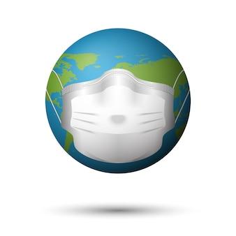 Máscara médica no planeta terra, doença ou conceito de poluição