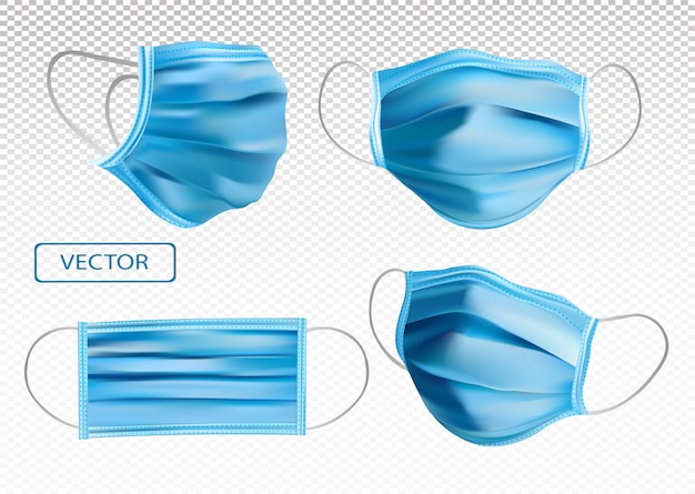 Máscara médica protetora realista 3d. proteção contra o vírus. máscara médica de rosto de diferentes ângulos. máscara médica isolada em fundo transparente. ilustração