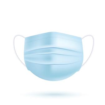 Máscara médica realista azul sobre fundo branco. ilustração