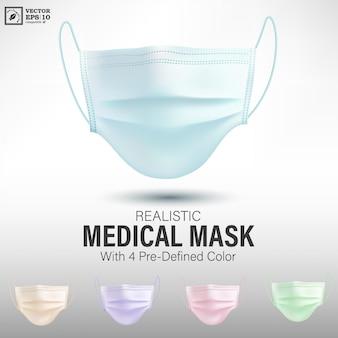 Máscara médica realista com cores predefinidas