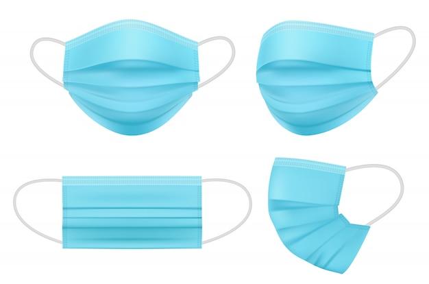 Máscara médica realista. pessoas de higiene enfrentam itens de prevenção de infecção de proteção de filtro