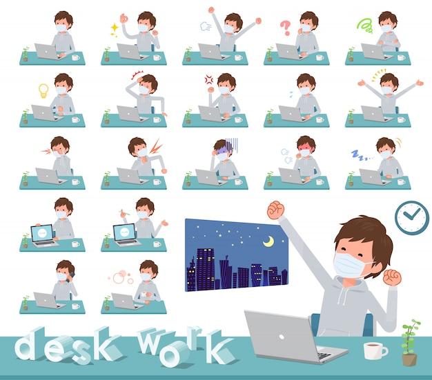 Máscara médica tipo plano trabalho men_desk