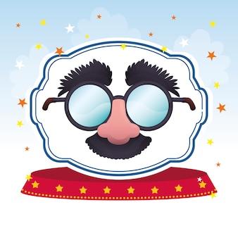 Máscara óculos imagem divertida