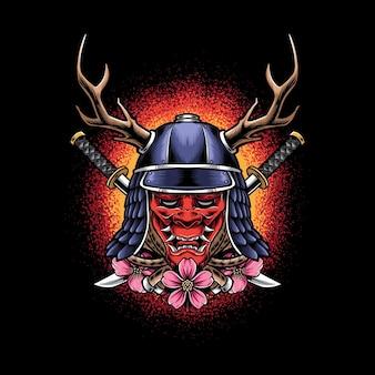 Máscara oni com capacete de samurai isolado no preto