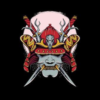 Máscara oni com capacete de samurai japonês com ilustração de lua e espada katana