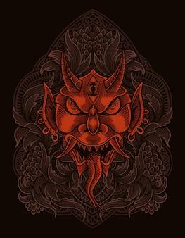 Máscara oni de ilustração com estilo de ornamento de gravura