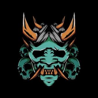 Máscara oni do diabo com ilustração de crânio em fundo preto