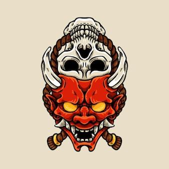 Máscara oni japonesa e crânio