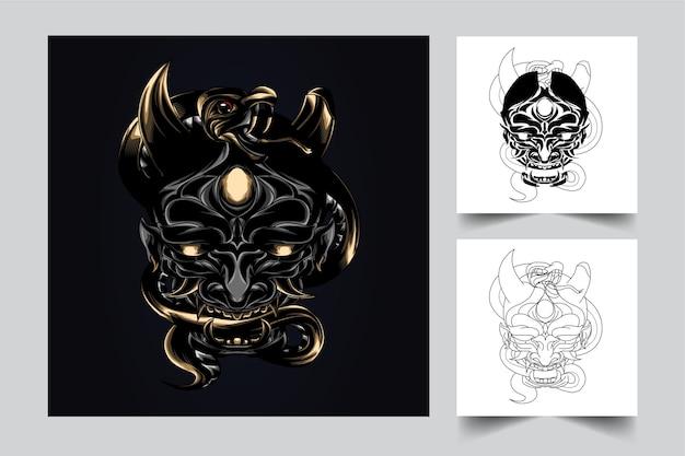 Máscara oni mascote do diabo com estilo de ilustração moderna