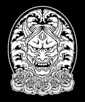 Máscara oni monocromática japão com rosas. vetor premium