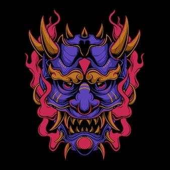 Máscara oni roxa com ilustração de chama vermelha
