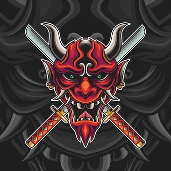 Máscara oni vermelha com ilustração de katana