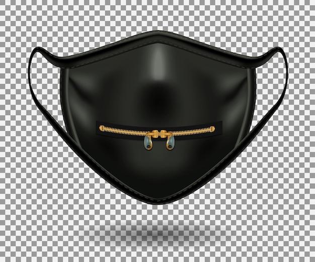 Máscara preta protetora de covid 19. zíper fechado e dois pingentes de ouro. 3d realista