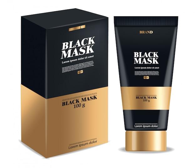 Máscara preta realista, pacote 3d preto isolado, cosméticos de marca, design de máscara facial de carvão, ilustração de produtos de beleza