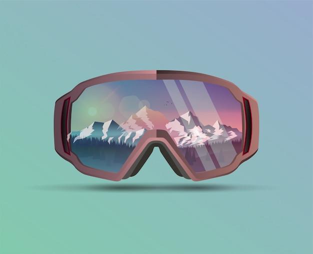 Máscara protetora de snowboard com paisagem de montanhas na reflexão