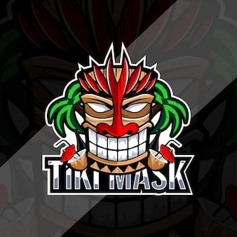 Máscara tiki com design de logotipo de coco e garrafa