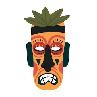Máscara tiki totem étnico colorido antigo rosto tribal de madeira tropical do deus tiki