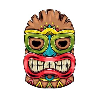 Máscara tradicional da ilha tiki com o grande sorriso da máscara para a festa