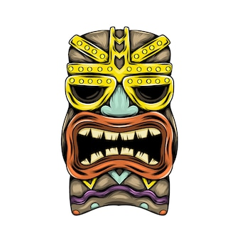 Máscara tradicional de ilha tiki com sotaque dourado e boca aberta