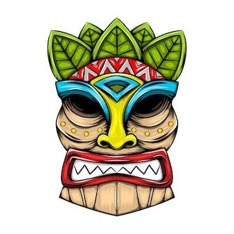 Máscara tradicional de ilha tiki feita de madeira com detalhes em folhas