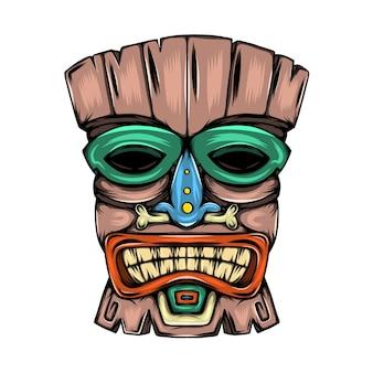 Máscara tradicional feita de madeira com a inspiração colorida da dor da ilha tiki
