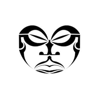 Máscara tradicional maori isolada no fundo branco.