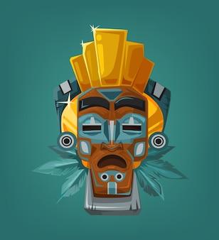 Máscara tribal étnica. ilustração plana dos desenhos animados