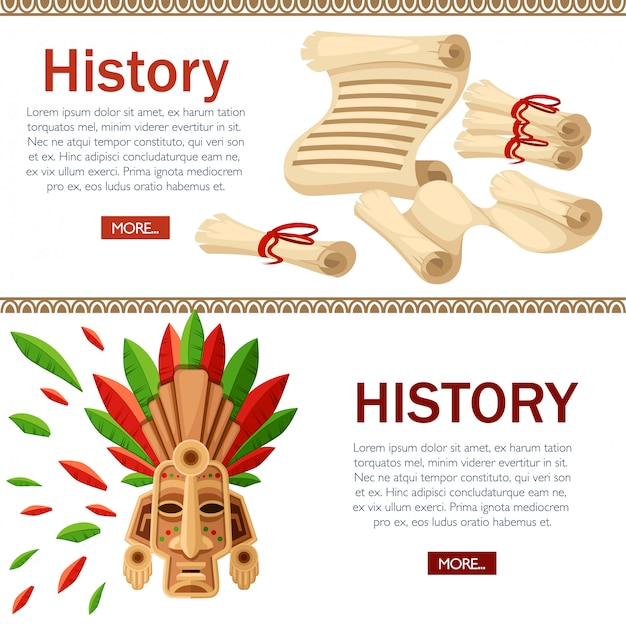 Máscara tribal étnica. máscara com folha verde e vermelha. cocar ritual com pergaminhos, colorido. conceito histórico. ilustração na página do site e aplicativo móvel com fundo branco