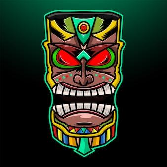 Máscara tribal havaiana tradicional de tiki com rosto humano