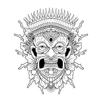 Máscara tribal havaiana tradicional tiki com rosto humano e fogo aceso símbolo do totem de madeira