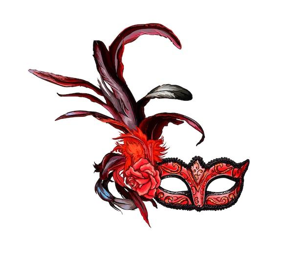 Máscara veneziana de carnaval com um toque de aquarela