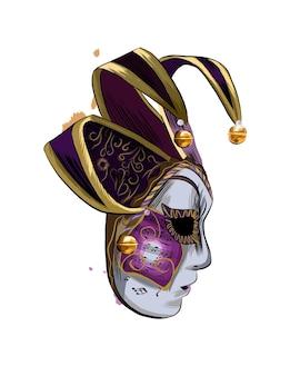 Máscara veneziana de carnaval de um toque de aquarela, desenho colorido, realista. ilustração de tintas