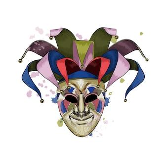 Máscara veneziana de carnaval de um toque de aquarela, desenho colorido, realista.