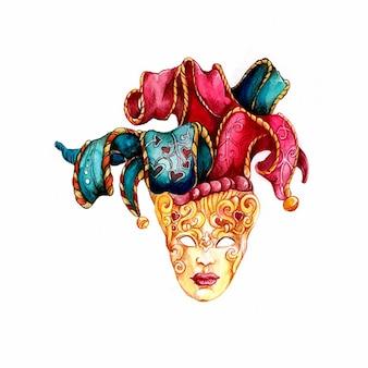 Máscara veneziana desenhada à mão em aquarela
