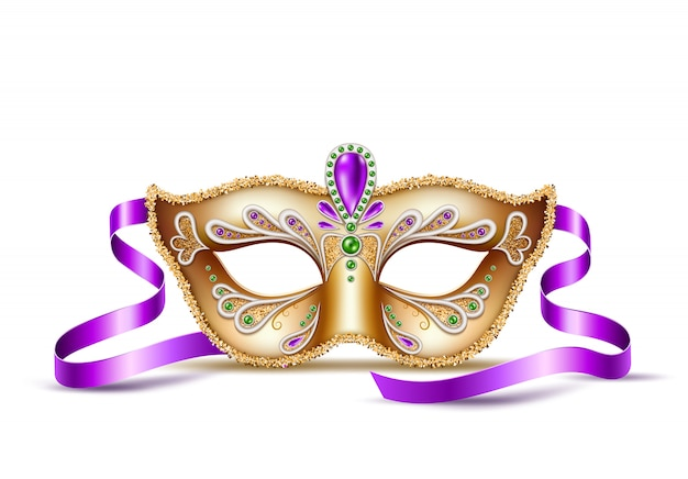 Máscara veneziana realista mardi gras, símbolo do carnaval de brasil
