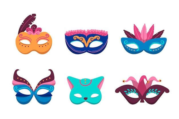 Máscaras coloridas de carnaval veneziano em 2d