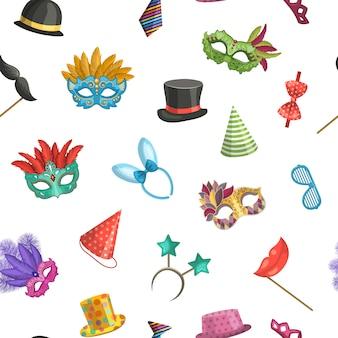 Máscaras coloridas e padrão de acessórios de festa dos desenhos animados