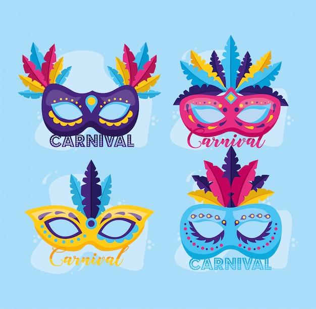 Máscaras com carnaval de penas