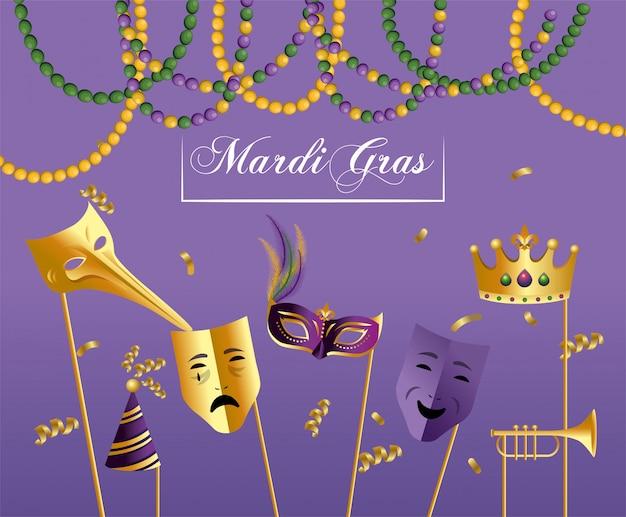 Máscaras com coroa e trompert para merdi gras celebration