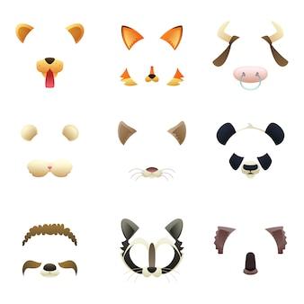 Máscaras de animais engraçados. orelhas e nariz.