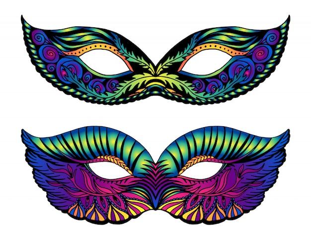 Máscaras de carnaval brilhante isoladas no branco