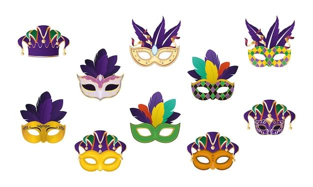 Máscaras de carnaval com cenografia de penas, celebração de decoração de carnaval de festa e tema de festival.