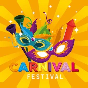 Máscaras de carnaval com decoração de penas e fogos de artifício para festa