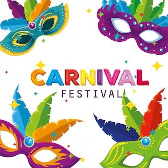 Máscaras de carnaval com decoração de penas para comemorar festa