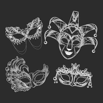 Máscaras de carnaval veneziano desenhadas à mão realistas