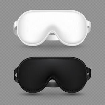 Máscaras de dormir realistas brancas e pretas
