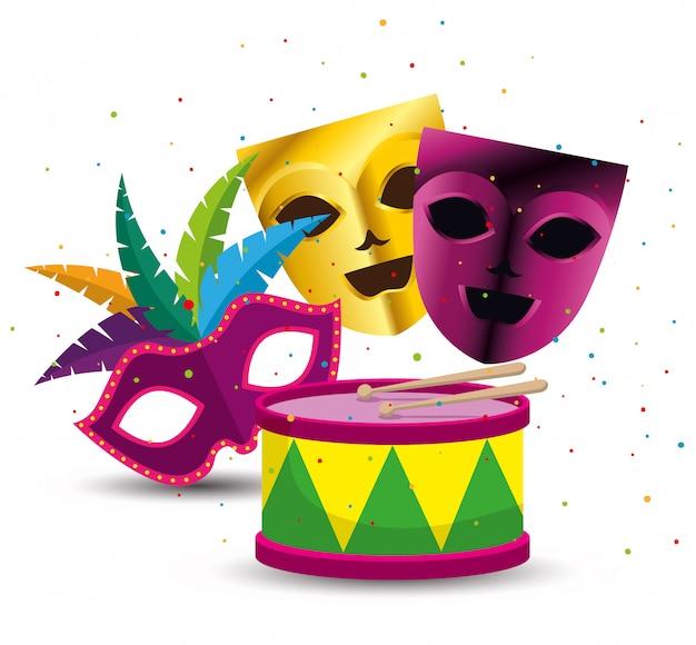 Máscaras de festa com tambor para mardi gras