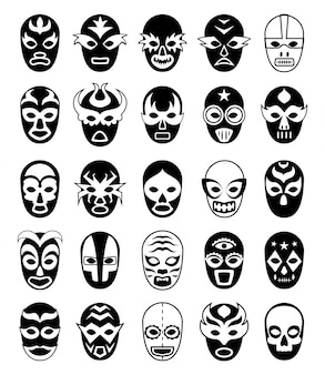 Máscaras de lutadores. silhuetas de lucha libre mexicana de luchador mascarado isolado