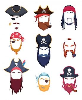 Máscaras de pirata. elemento de fantasias de carnaval bigode chapéu barba gancho cabelo criação kit
